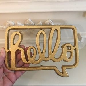 NEW Hello cast iron metal sign gold wall hanging